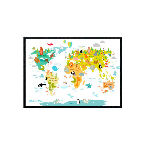 World map with animals poster wallsticker