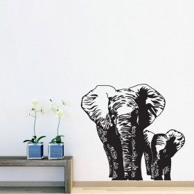 Elefantmor og barn wallsticker