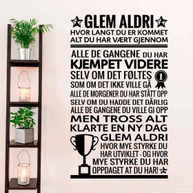 Glem aldri wallsticker