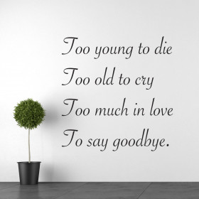 Too old to cry wallsticker
