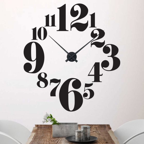 Curvy numbers klokke wallsticker