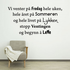 Vi venter på fredag wallsticker