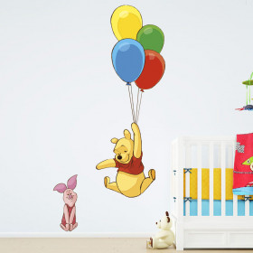 Winnie the Pooh - flying balloons wallsticker