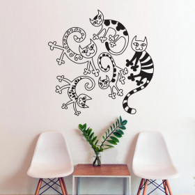 Artistic cat collage wallsticker