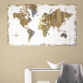 Retro verdenskart wallsticker