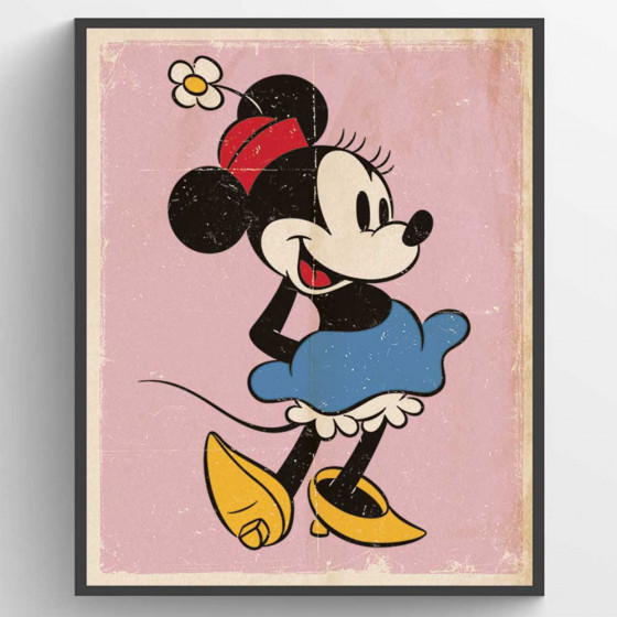 Minni Mus Retro Plakat wallsticker