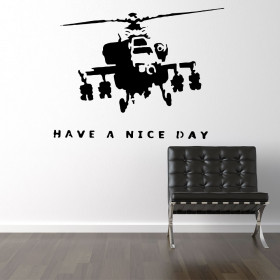 Banksy militærhelikopter have a nice day wallsticker