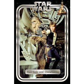 Star Wars Hans and Chewie Retro Plakat wallsticker