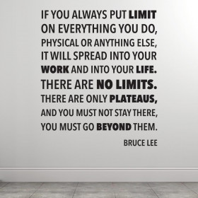 There are no limits - Bruce Lee wallsticker
