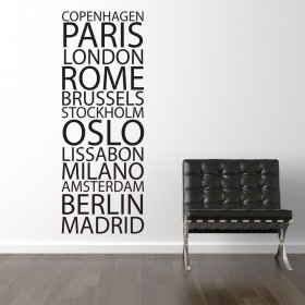 Europeiske bynavn wallsticker
