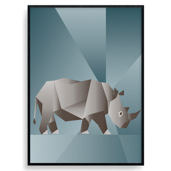Polygon Rhino Plakat wallsticker