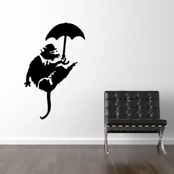 Banksy wallsticker rat umbrella wallsticker