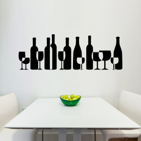 Wine & glasses wallsticker